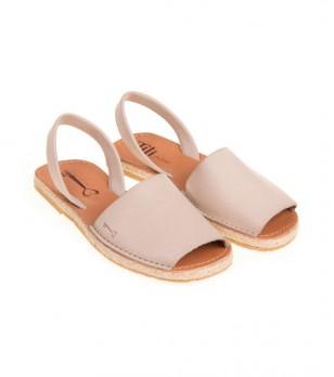 Бежови дамски кожени сандали