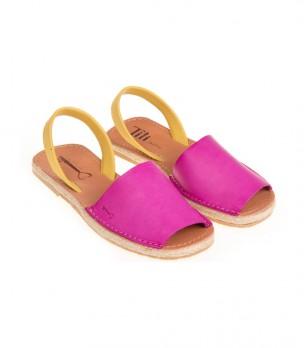Дамски кожени сандали в циклама и жълто