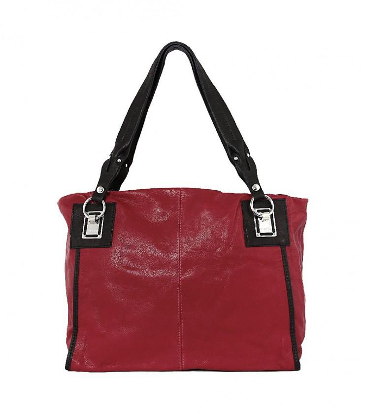 Червена кожена чанта с метални елементи Laura