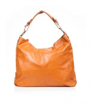 Дамска кожена чанта в цвят коняк Violeta