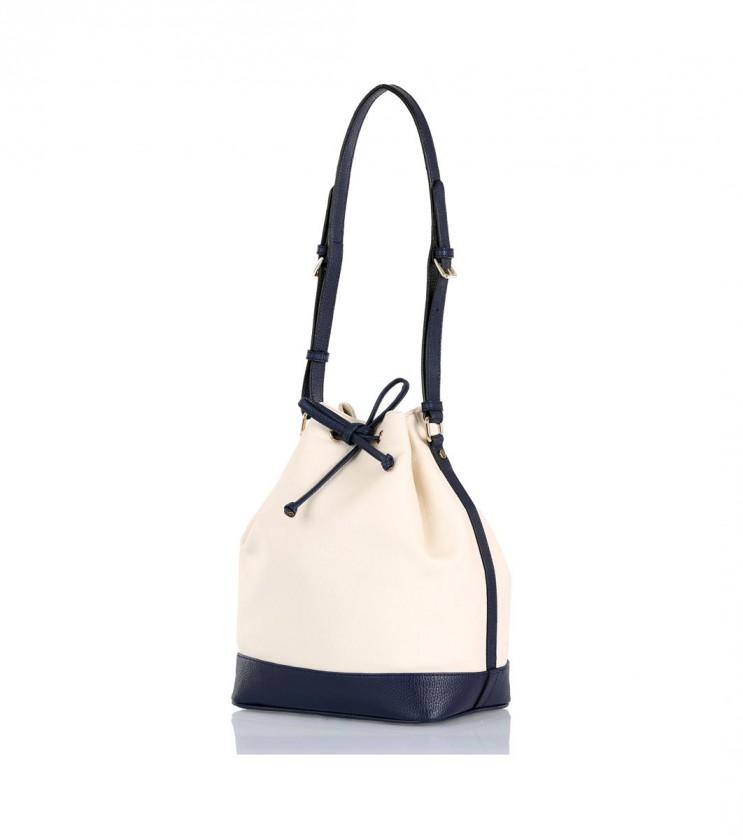 Дамска чанта в цвят екрю и тъмносиньо