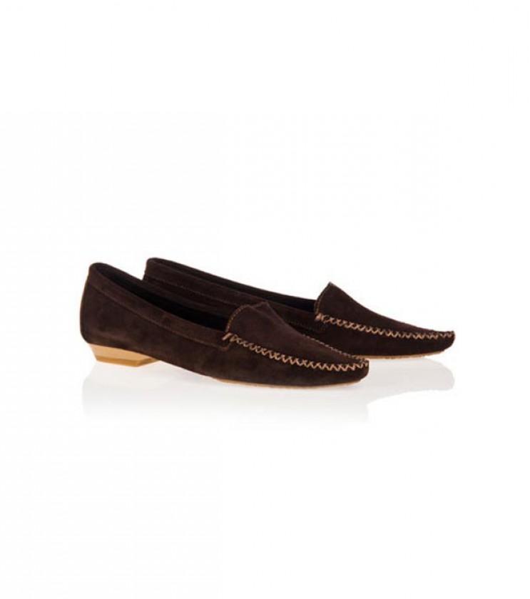Велурени дамски обувки в кафяво