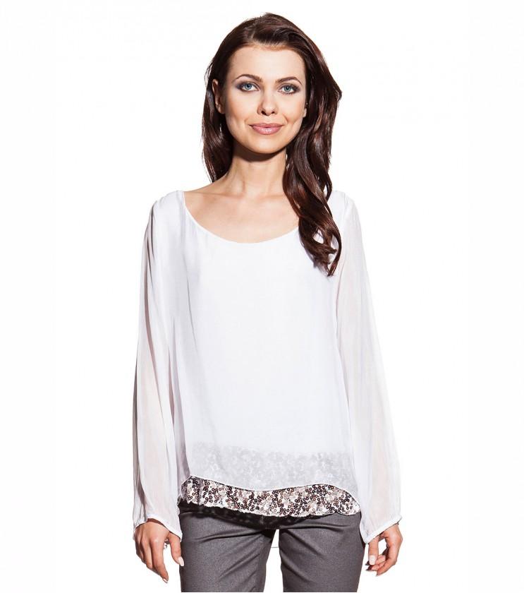 Двупластова дамска блуза в бяло Hermina