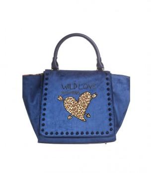 Синя текстилна дамска чанта с декорация