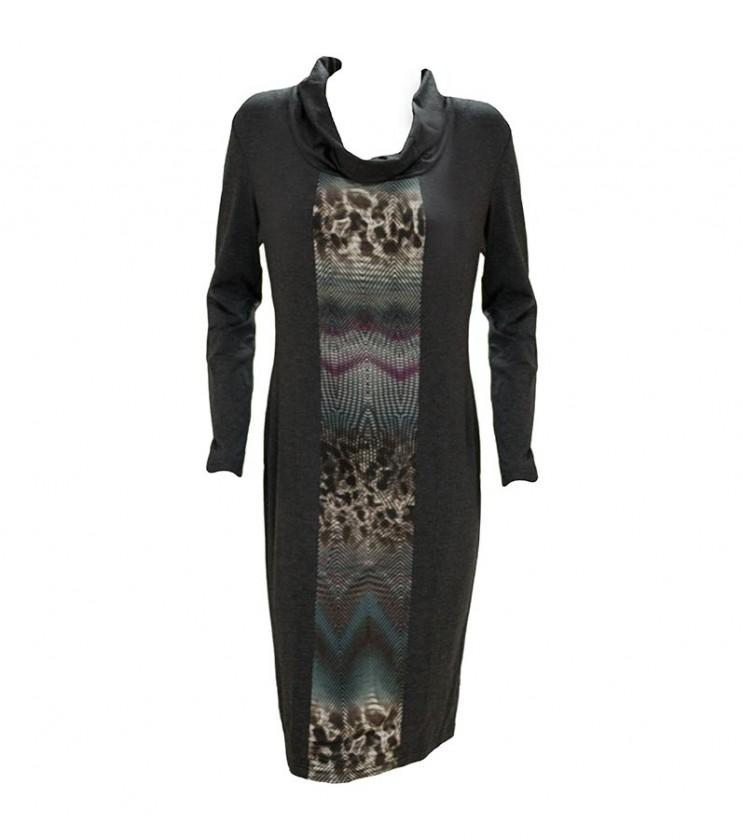Сива рокля с контрастен панел