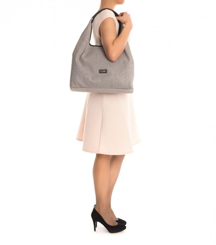 Дамска чанта от естествена кожа в сив нюанс Lita