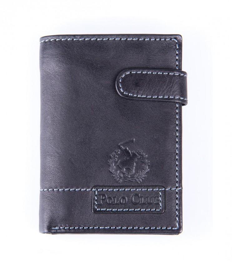 Черен портфейл от естествена кожа Mario
