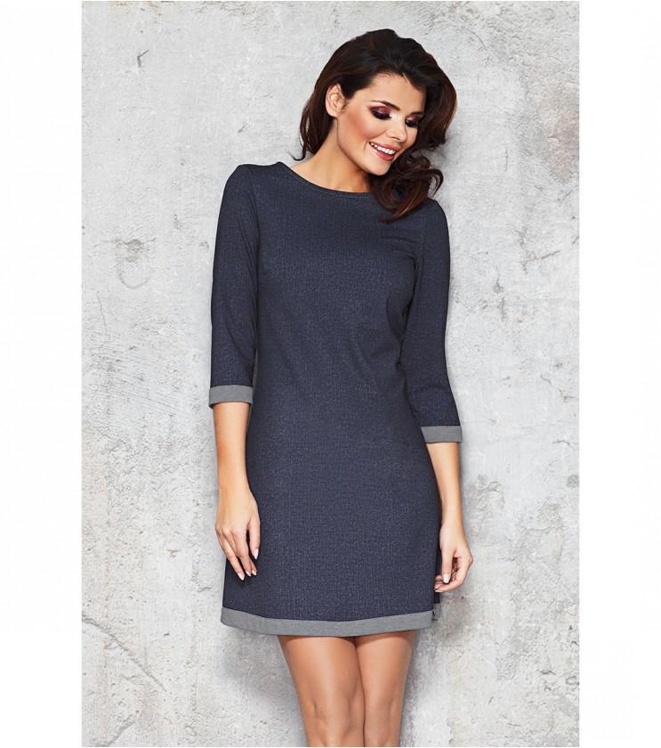 Тъмносиня рокля с контрастен кант