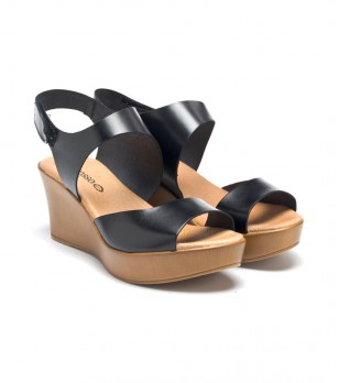 Черни дамски кожени сандали на платформа