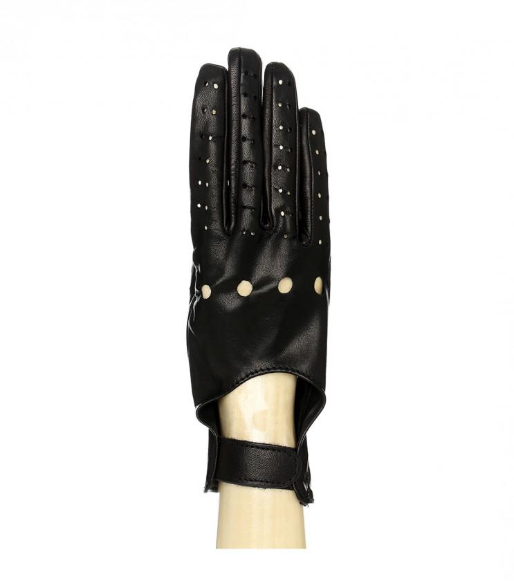 Кожени черни дамски ръкавици Monic