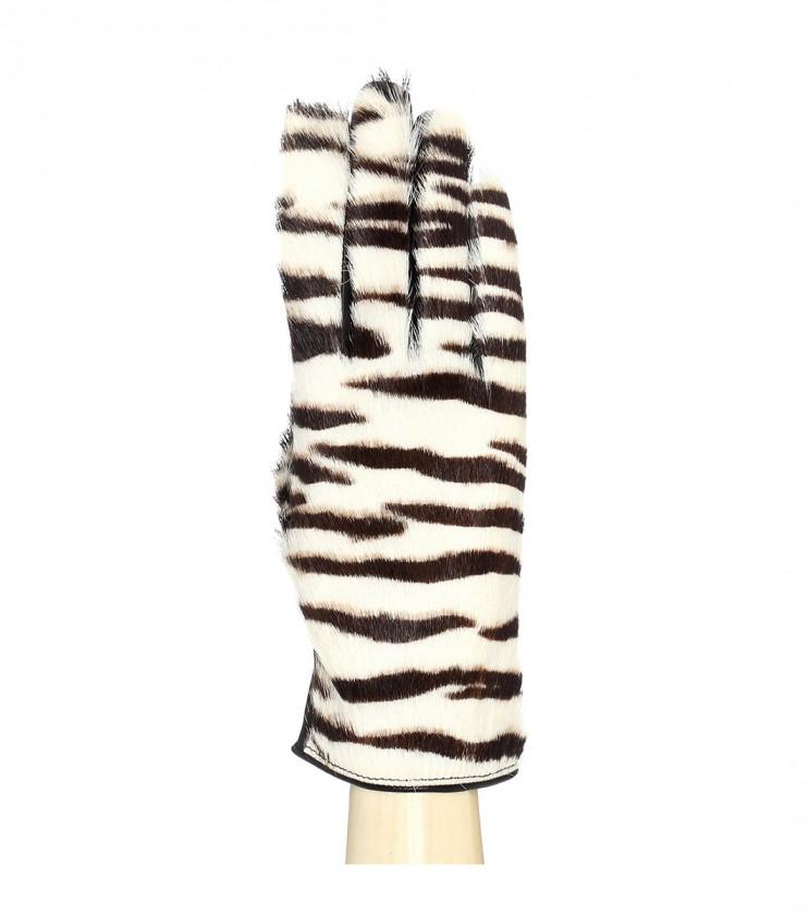 Кожени дамски ръкавици в бяло и черно Avelia