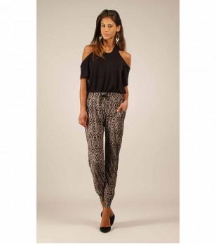 Дамски панталон Patricia в цвят таупе и черно