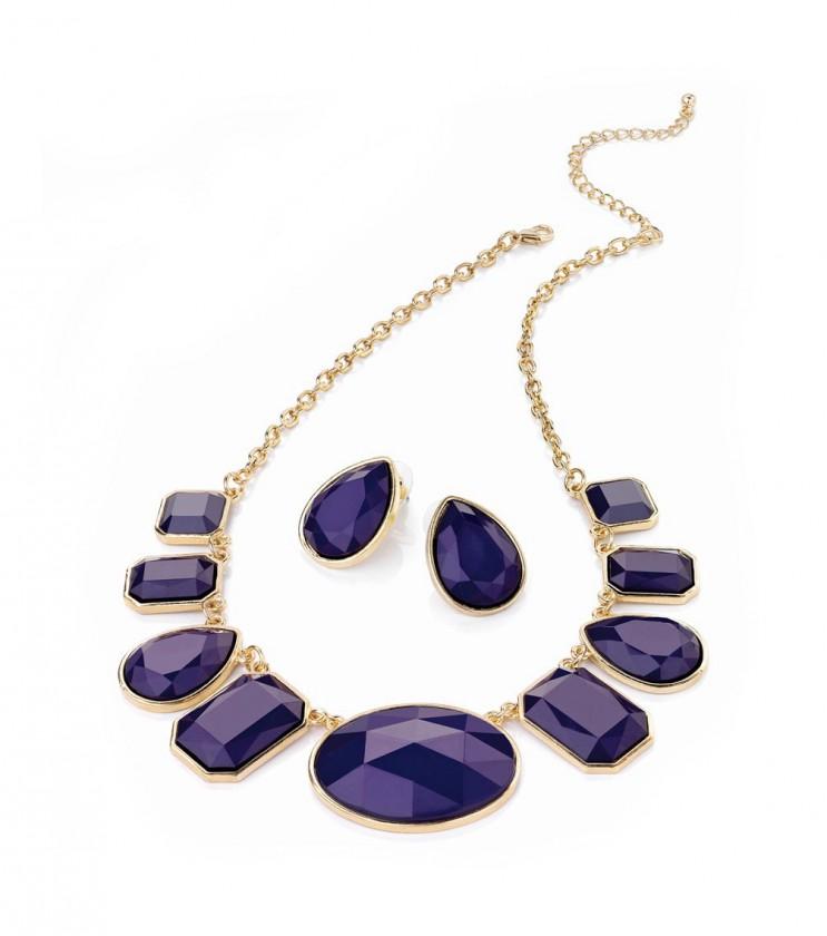 Комплект от 2 части в златисто с лилави кристали