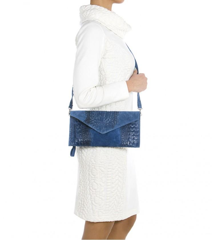 Синя кожена дамска чанта тип клъч Tammy