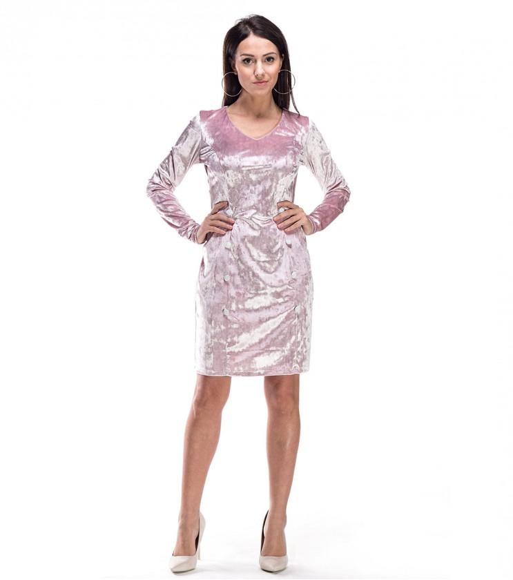 Розова кадифена рокля с декоративни копчета Bretta