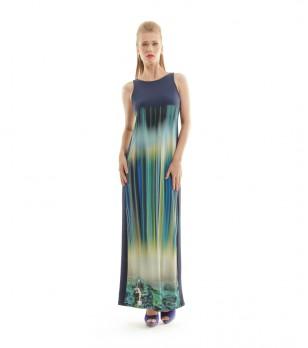 Дълга тъмносиня рокля