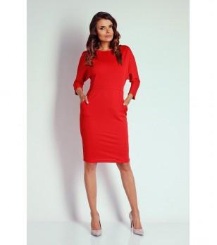 Червена рокля с прилеп ръкави Sintia