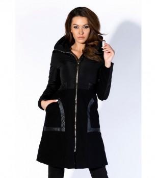 Дълго черно дамско яке Kobri