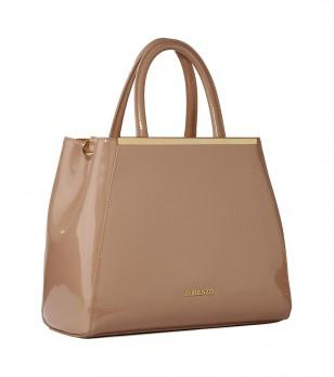 Лачена дамска кожена чанта в цвят таупе Betty