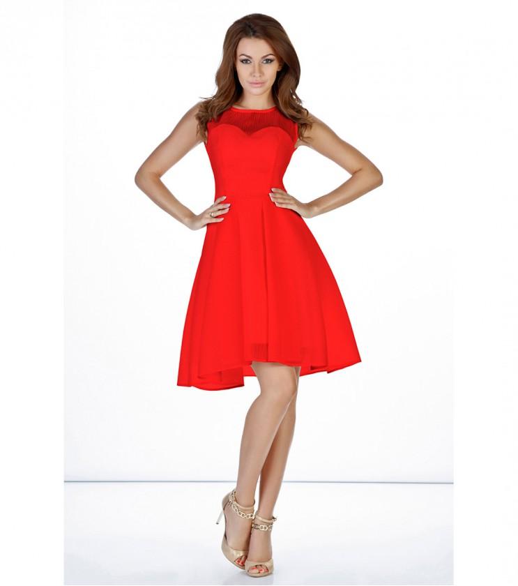Червена разкроена рокля Loriet