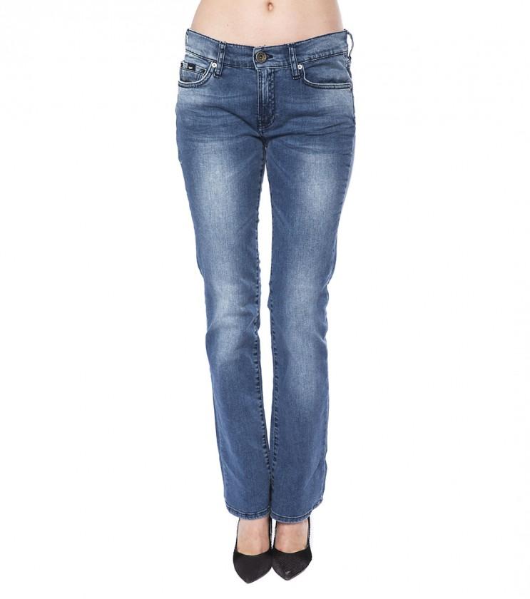 Дамски сини памучни дънки