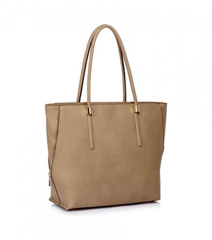 Трапецовидна дамска чанта в цвят таупе Derica