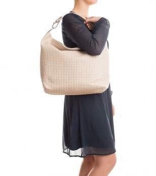 Дамска чанта в цвят крем от естествена кожа Perena