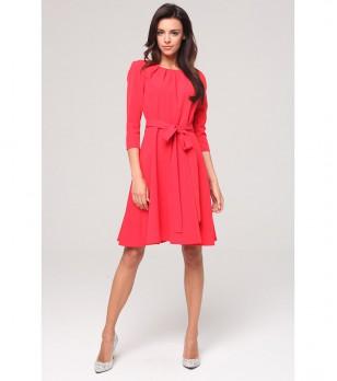 Червена рокля с връзка Tina