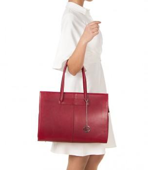 Дамска червена кожена чанта