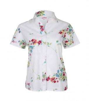 Бяла памучна дамска риза с флорален принт