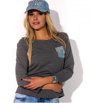 Дамска памучна блуза в цвят графит