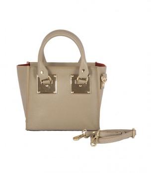 Дамска кожена чанта в цвят камел с метални елементи Ruth