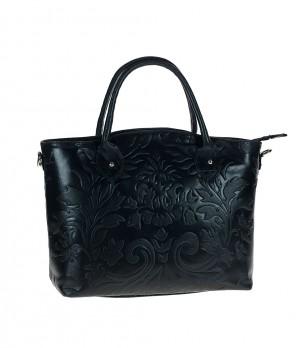 Кожена черна дамска чанта Sandy