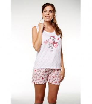 Лятна дамска памучна пижама в бяло и розово