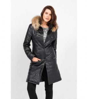 Дълго дамско черно кожено яке с пух Klara