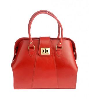 Дамска кожена чанта в червено Alfina
