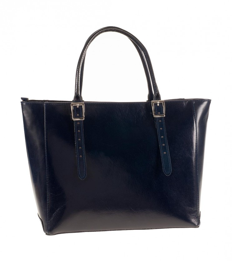 Тъмносиня дамска кожена чанта с катарами Flavia