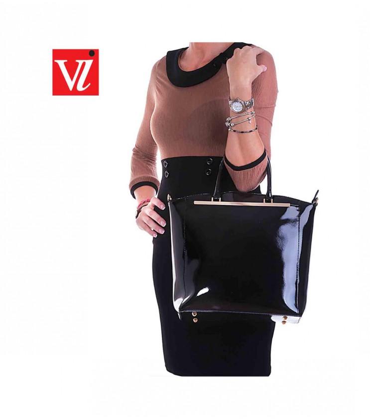 Лачена кожена дамска чанта в черно Anastasia