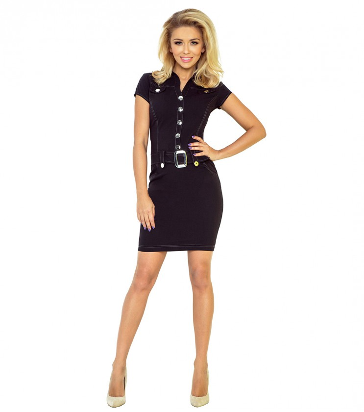 Къса черна рокля с къс ръкав Leona