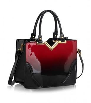 Дамска лачена чанта в черно и бургунд Aleda