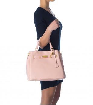 Розова кожена дамска чанта Celina