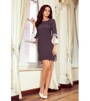 Черна рокля на бели точки Yara