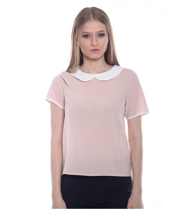 Бежова дамска блуза с  яка