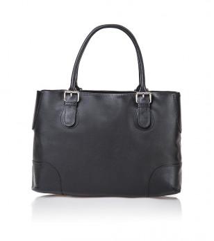 Дамска кожена чанта в черно Brenda