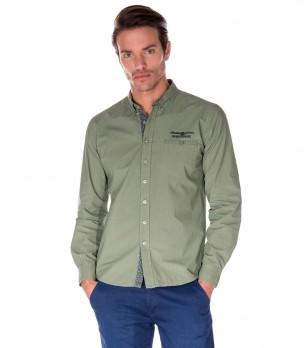 Мъжка памучна риза в зелен нюанс Peter