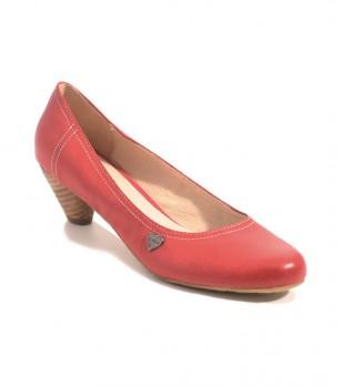 Червени дамски кожени обувки