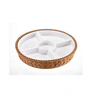 Кръгло плато с поставка кошница в кафяво