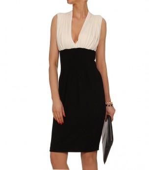 Елегантна рокля в цвят екрю и черно