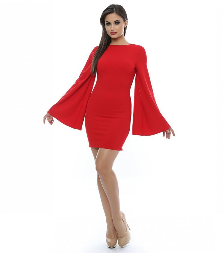 Червена рокля с ефектни ръкави Ester