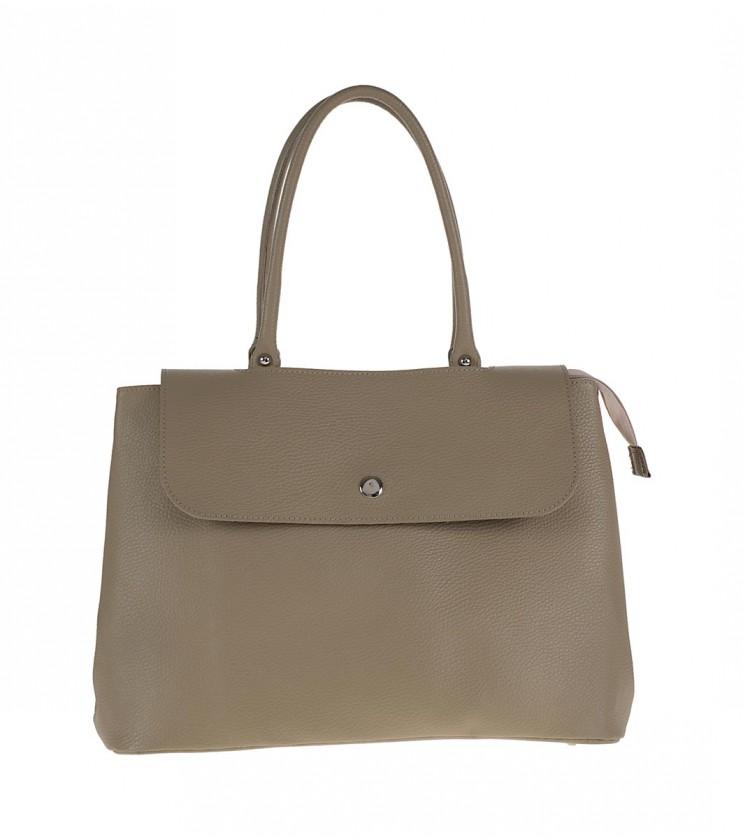 Кожена дамска чанта в цвят таупе с две дръжки